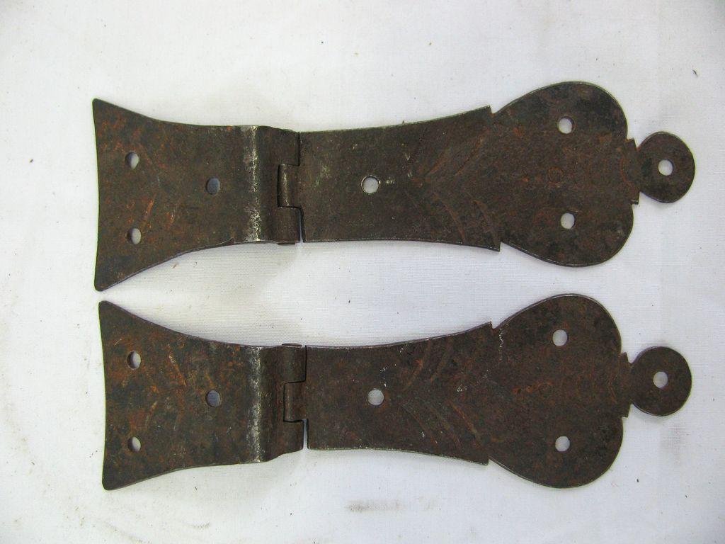 Antique Miniature Blanket Box Hinge Set Hand Made Iron