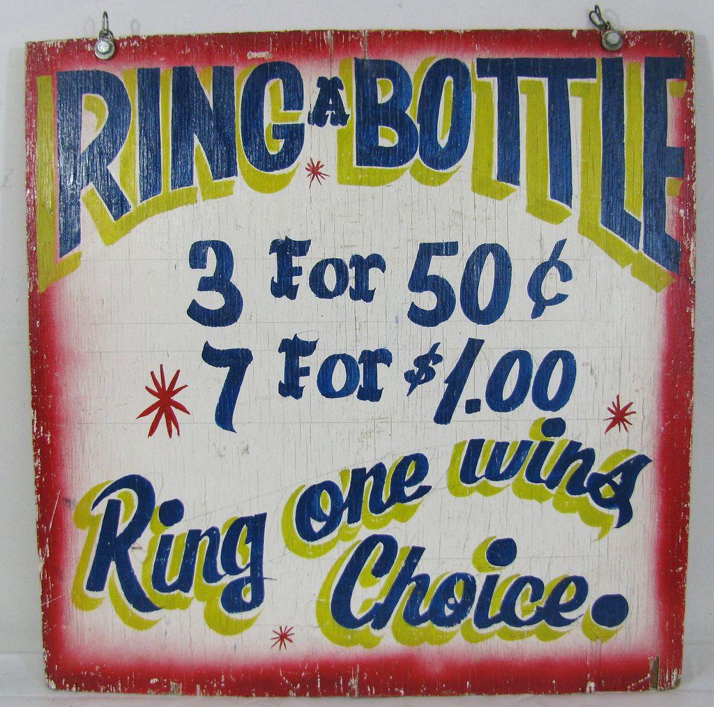 Vintage Bottle Ring toss Carnival Sign