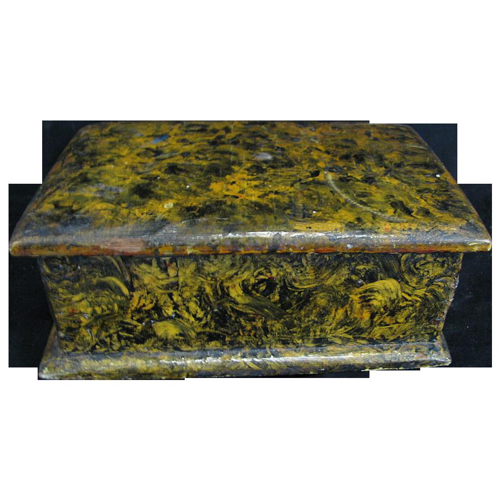 Antique Sponge Decorated Miniature Dresser Box