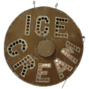 Vintage Tin Lighted Ice Cream Trade Sign