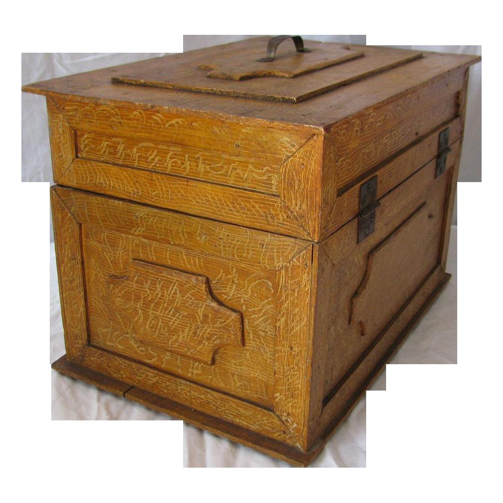 Antique Grain Painted Wooden Child's Box