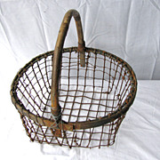 Antique Wire and Wood Clam Basket