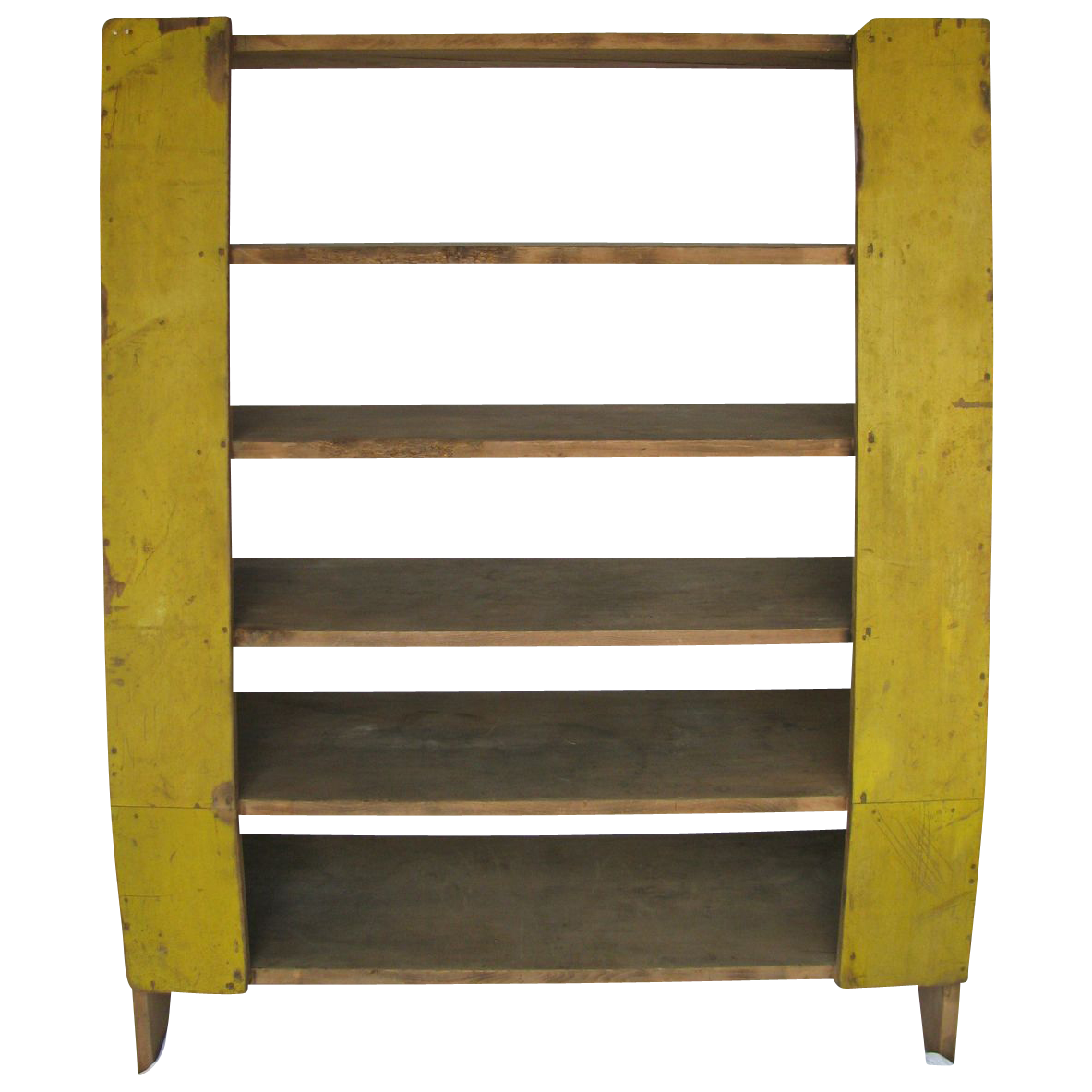 Antique Chrome Yellow Painted Cornish Maine Camp-Back Cupboard