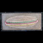Vintage Painted Folk Art Iron Cheese Burger Trade Sign