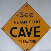 Antique Metal Sign Indian Echo Cave Caverns Hummelstown Hershey Pennsylvania