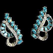 Wiesner Earrings-Swirling Design-Circa Early 1950's-Vintage Elegance