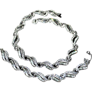 Kramer N.Y.-Brilliant Necklace & Bracelet Set-Dreamy Diamond Look