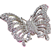 Swarovski Swan Logo Butterfly Pin-Open Design Covered with Brilliant Crystals