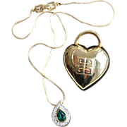 Givenchy Pair-Necklace & Pin-Faux Emerald Pendant-Puffed Heart Motif Pin