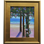 Seascape-January Dreaming-Turquoise Water & Beach Cabana-11 X 14 Oil Painting by L. Warner