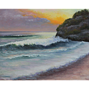 Seascape Sunset-Ocean Waves Rolling In-16 X 20 Framed Oil Painting by L. Warner