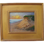 Sunrise Over Ocean-Framed 8 X 10 Oil Painting by L. Warner-Dunes of Cape Cod