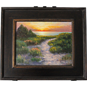 Seascape-Sunset Beach-Framed 11 X 14 Oil Painting by L. Warner-Scenic Cape Cod