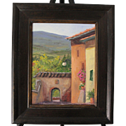 Landscape-View from Old Certaldo, Tuscany, Italy-Framed 11 X 14 Oil Painting by L. Warner