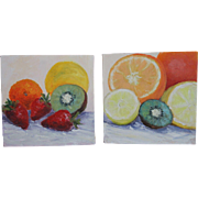 """Still Life-Fruit-Two 8 X 8"""" Oil Paintings by L. Warner-Gallery Wrapped-Bright & Fun"""