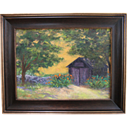 """""""Tom's Shed"""" by L. Warner-12 X 16 Framed Oil Painting: Summer Yard"""