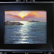 Sunrise Over Bay-Framed 11 X 14 Oil Painting-L. Warner Artist