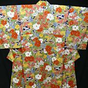 Pure Silk 'Springtime' Kimono with Multi-color Camellia Garden . c1940