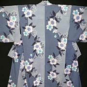 Vintage Blue/Grey Japanese Yukata Kimono with Peonies