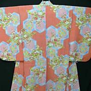 Art Deco Pink & Blue Silk Crepe Kimono with Cherry Blossom and Hexagons.