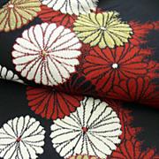 Art Deco Black Silk Omeshi Haori with Red & White Chrysanthemum Pattern.