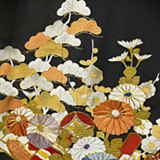 SALE Art Deco Black Silk Tomasode Kimono with Gold Embroidery, Hand Painted Flowers & Family C