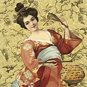 Pair of Antique German Issue Japanese 'Geisha' Postcards 1902