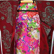 Art Deco Burgundy Silk Haori Kimono with Floral Lining c1930