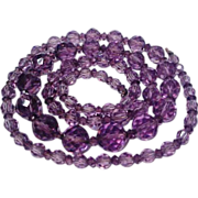 Art Deco Amethyst Crystal Bead Flapper Necklace