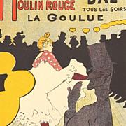 Toulouse-Lautrec 'Moulin Rouge La Goulue' Stone Lithograph in 7 Plates.