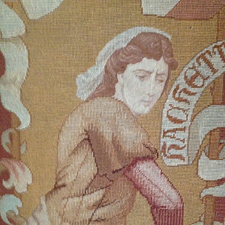SALE Mid Victorian French Hand Stitched Tapestry Female Warrior c1850