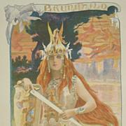 Antique Original French Lithograph 'Brunnhild' L'Estampe Moderne series 1898.