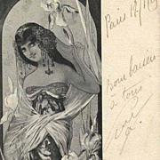 Original Signed French 'Iris' Postcard 1905.