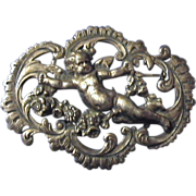 Large Continental Art Nouveau Cherub Brooch Pin