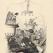 Original Rare French Color Engraving 'Angels and Demons' by JJ Grandville 1844.
