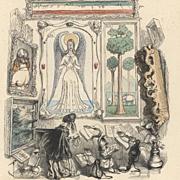 Original Rare French Color Engraving 'Le Louvre des Marionettes' by JJ Grandville 1844.