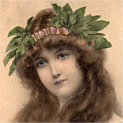 Art Nouveau French Lithographic 'Lady with Laurel Wreath' Postcard 1906.