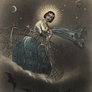 Victorian Color Engraving 'The Evening Star' 1849 for Godey's Lady's Book..