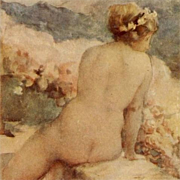 SALE Italian Issue French Artist 'Nude on a Wall' Postcard