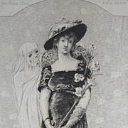 Sarah Bernhardt Original French Etching 'La Jeune Fille et La Mort' 1880.