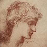 Rare Original Signed French Lithograph 'Beauty' By Burne-Jones 1898 L'Estampe Moderne series.