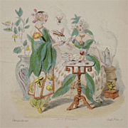 Rare Antique Grandville Belgian Engraving 'The et Cafe'  from Les Fleurs Animees 1852
