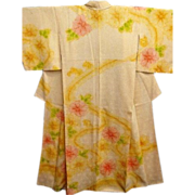 SALE Antique Creamy Yellow Tie Dyed Silk Kimono with Pastel Pink and Yellow Floral Pattern c19