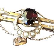 Victorian Garnet Seed Pearl and 9ct Rose Gold Bar and Horse Shoe Brooch Pin with Tiny Heart.