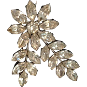 Art Deco Marquise Cut Clear Rhinestone Flower and Leaves Brooch Pin