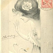 SALE Signed Art Nouveau French Postcard 'Sirene' 1902