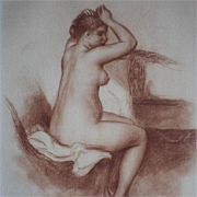 Signed School of Renoir Sanguine Nude Numbered Engraving 'Jeune Femme Nue' 1923