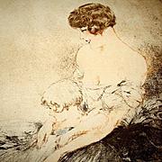 Original Louis Icart 'Le Jardin Japonaise' L'Illustration Etching and Aqua Tint 1932.