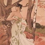 Antique Original French Signed 'Artemis' Lithograph 1898 L'Estampe Moderne series.