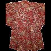 Bold Vintage Woven Red Silk Phoenix Pattern  'Omeshi' Kimono mid Showa Era.
